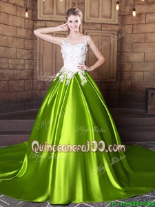 Sophisticated Scoop Lace and Appliques Ball Gown Prom Dress Yellow Green Lace Up Sleeveless With Train Court Train