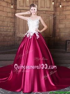 Fitting Hot Pink Ball Gowns Scoop Sleeveless Elastic Woven Satin Court Train Lace Up Lace and Appliques Sweet 16 Dresses