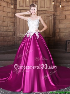 Most Popular Scoop Fuchsia Sleeveless Elastic Woven Satin Court Train Lace Up Quinceanera Dresses forMilitary Ball and Sweet 16 and Quinceanera