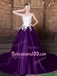 Charming Scoop Sleeveless Quinceanera Dresses With Train Court Train Lace and Appliques White And Purple Elastic Woven Satin