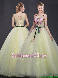 Glorious Scoop Sleeveless Lace Up Floor Length Appliques 15 Quinceanera Dress