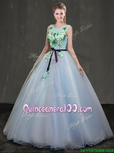Amazing Light Blue Scoop Lace Up Appliques Ball Gown Prom Dress Sleeveless