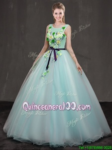 Apple Green Quince Ball Gowns Military Ball and Sweet 16 and Quinceanera and For withAppliques Scoop Sleeveless Lace Up