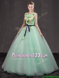 Clearance Scoop Apple Green Lace Up Sweet 16 Dress Appliques Sleeveless Floor Length