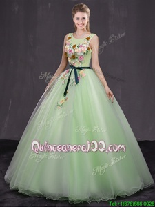 Luxurious Yellow Green Sweet 16 Quinceanera Dress Military Ball and Sweet 16 and Quinceanera and For withAppliques Scoop Sleeveless Lace Up