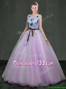 New Style Lavender Ball Gowns Organza Scoop Sleeveless Appliques Floor Length Lace Up Quince Ball Gowns