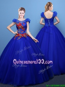 Classical Scoop Spring and Summer and Fall and Winter Tulle Short Sleeves Floor Length Quinceanera Dresses andAppliques