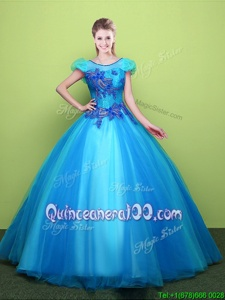 Popular Scoop Baby Blue Ball Gowns Appliques Sweet 16 Quinceanera Dress Lace Up Tulle Short Sleeves Floor Length