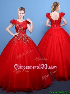 Low Price Ball Gowns 15th Birthday Dress Red Scoop Tulle Short Sleeves Floor Length Lace Up
