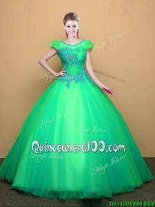 Exceptional Scoop Floor Length Turquoise Quinceanera Dresses Tulle Short Sleeves Spring and Summer and Fall and Winter Appliques