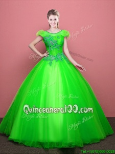 Graceful Spring Green Lace Up Scoop Appliques Sweet 16 Dress Tulle Short Sleeves
