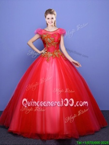 Latest Scoop Coral Red Short Sleeves Appliques Floor Length 15 Quinceanera Dress
