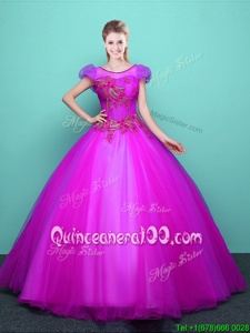 Sweet Scoop Fuchsia Lace Up Quince Ball Gowns Appliques Short Sleeves Floor Length