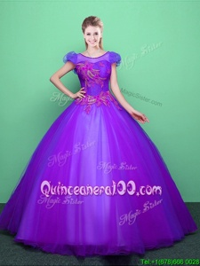 Sumptuous Ball Gowns Sweet 16 Dresses Purple Scoop Tulle Short Sleeves Floor Length Lace Up