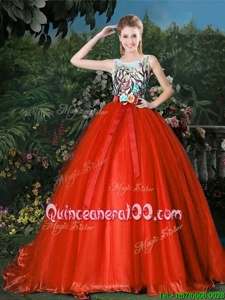 Modest Scoop Sleeveless Organza Brush Train Zipper Ball Gown Prom Dress inRed forSpring and Summer and Fall and Winter withAppliques and Belt