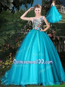 Captivating Scoop Teal Organza Zipper Sweet 16 Quinceanera Dress Sleeveless Brush Train Appliques and Belt