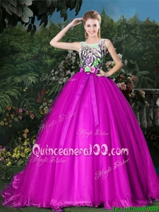 Scoop Sleeveless Sweet 16 Dresses Brush Train Appliques and Belt Fuchsia Organza