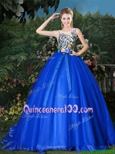 Enchanting Scoop Ball Gowns Sleeveless Royal Blue Quinceanera Dress Brush Train Zipper