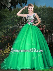 Sophisticated Scoop Green Quince Ball Gowns Organza Brush Train Sleeveless Spring and Summer and Fall and Winter Appliques and Belt
