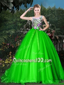 Admirable Scoop Spring Green Sleeveless Appliques and Belt Zipper Quinceanera Dresses
