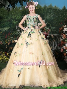 Charming Champagne Scoop Lace Up Appliques Sweet 16 Quinceanera Dress Brush Train Sleeveless