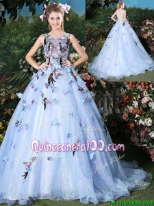 High End Scoop Floor Length Lace Up 15th Birthday Dress Light Blue and In forMilitary Ball and Sweet 16 and Quinceanera withAppliques Brush Train