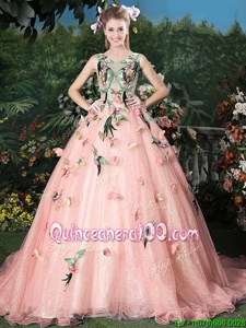 Adorable Scoop Sleeveless Quinceanera Dresses Brush Train Appliques Baby Pink Organza