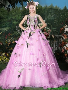 Custom Design Lilac Quinceanera Gown Military Ball and Sweet 16 and Quinceanera and For withAppliques Scoop Sleeveless Brush Train Lace Up