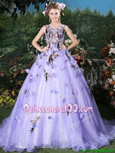 Attractive Scoop Lavender Sleeveless Organza Brush Train Lace Up Sweet 16 Dresses forMilitary Ball and Sweet 16 and Quinceanera
