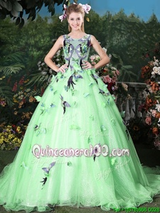 Scoop Sleeveless Organza Quinceanera Gowns Appliques Brush Train Zipper
