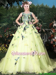 Cute Scoop Light Yellow Ball Gowns Appliques 15th Birthday Dress Zipper Organza Sleeveless