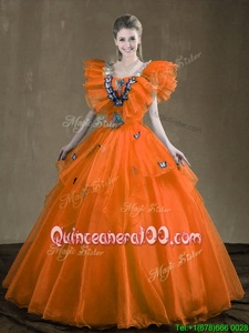 Great Sleeveless Lace Up Floor Length Appliques and Ruffles Sweet 16 Dresses