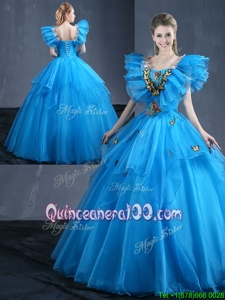 Fantastic Baby Blue Ball Gowns Appliques and Ruffles 15th Birthday Dress Lace Up Organza Sleeveless Floor Length