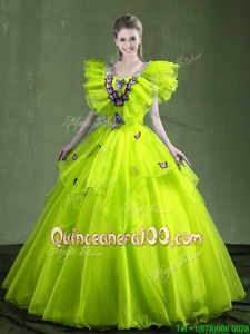 Low Price Floor Length Ball Gowns Sleeveless Yellow Green Ball Gown Prom Dress Lace Up