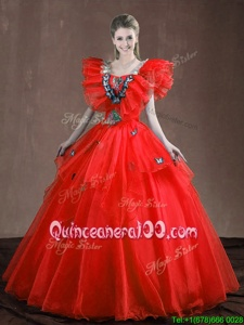 Popular Red Lace Up Sweetheart Appliques and Ruffles Quince Ball Gowns Organza Sleeveless