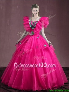 Hot Pink Ball Gowns Appliques and Ruffles 15 Quinceanera Dress Lace Up Organza Sleeveless Floor Length
