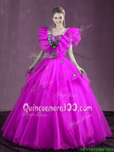 Stunning Ball Gowns Quinceanera Dresses Purple Sweetheart Organza Sleeveless Floor Length Lace Up
