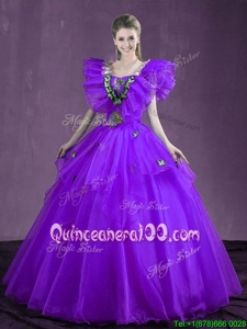 Hot Sale Purple Sleeveless Floor Length Appliques and Ruffles Lace Up Sweet 16 Quinceanera Dress
