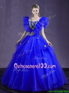 Colorful Royal Blue Organza Lace Up Sweet 16 Quinceanera Dress Sleeveless Floor Length Appliques and Ruffles