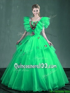 Turquoise and Apple Green Square Lace Up Embroidery Vestidos de Quinceanera Sleeveless