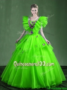 Super Spring Green Organza Lace Up Sweetheart Sleeveless Floor Length Ball Gown Prom Dress Appliques and Ruffles