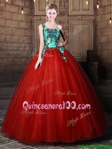 Perfect Rust Red Tulle Lace Up One Shoulder Sleeveless Floor Length Quinceanera Dresses Pattern