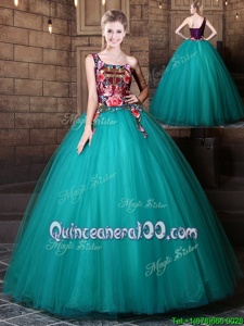 Stunning Teal Ball Gowns One Shoulder Sleeveless Tulle Floor Length Lace Up Pattern Quinceanera Gowns