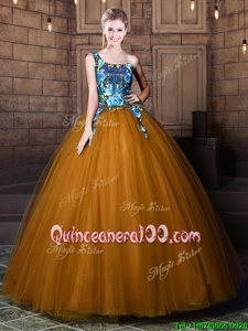 Flirting One Shoulder Sleeveless Quince Ball Gowns Floor Length Pattern Brown Tulle