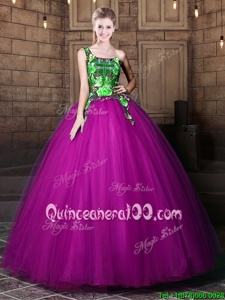 Chic Purple Ball Gowns One Shoulder Sleeveless Tulle Floor Length Lace Up Pattern Vestidos de Quinceanera