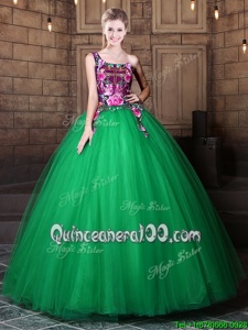 Glorious One Shoulder Green Tulle Lace Up Quince Ball Gowns Sleeveless Floor Length Pattern