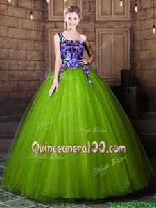 Latest One Shoulder Spring and Summer and Fall and Winter Tulle Sleeveless Floor Length Quinceanera Dress andPattern