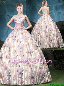 Fantastic Multi-color Tulle Lace Up Straps Sleeveless Floor Length Quinceanera Gowns Appliques and Pattern