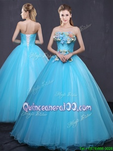 Most Popular Sleeveless Tulle Floor Length Lace Up 15 Quinceanera Dress inBaby Blue forSpring and Summer and Fall and Winter withAppliques