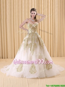 Chic Appliques Vestidos de Quinceanera White Lace Up Sleeveless Sweep Train